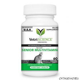 NuCat Senior 60 жевательных таблеток со вкусом рыбы - витаминно минеральный комплекс для пожилых кошек
